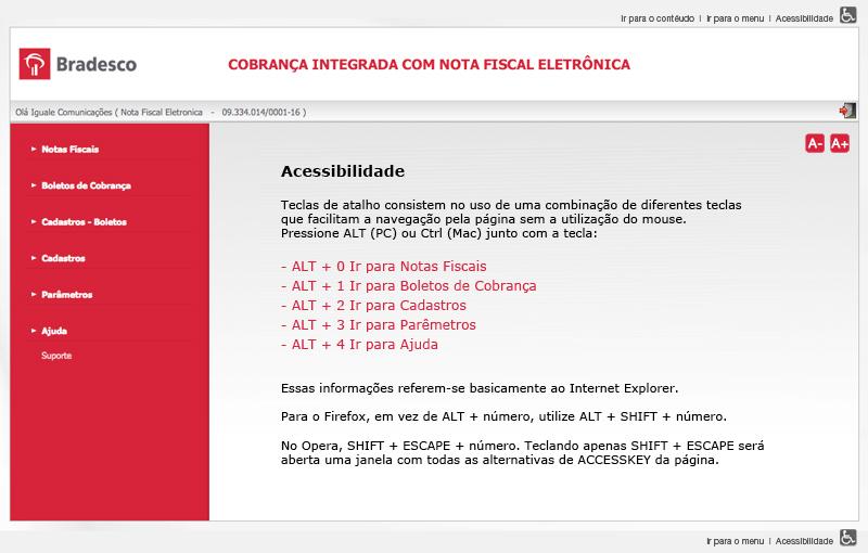 Página do projeto NFE Bradesco
