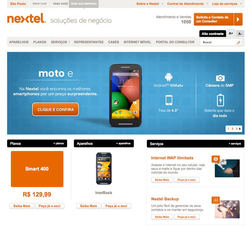 Página do projeto Nextel empresas