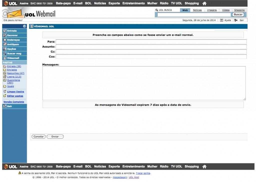 Printscreen tela do sistema webmail UOL